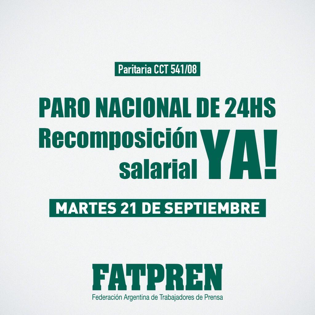 Argentina: paro nacional de FATPREN por falta de respuesta ante pedidos de recomposición salarial