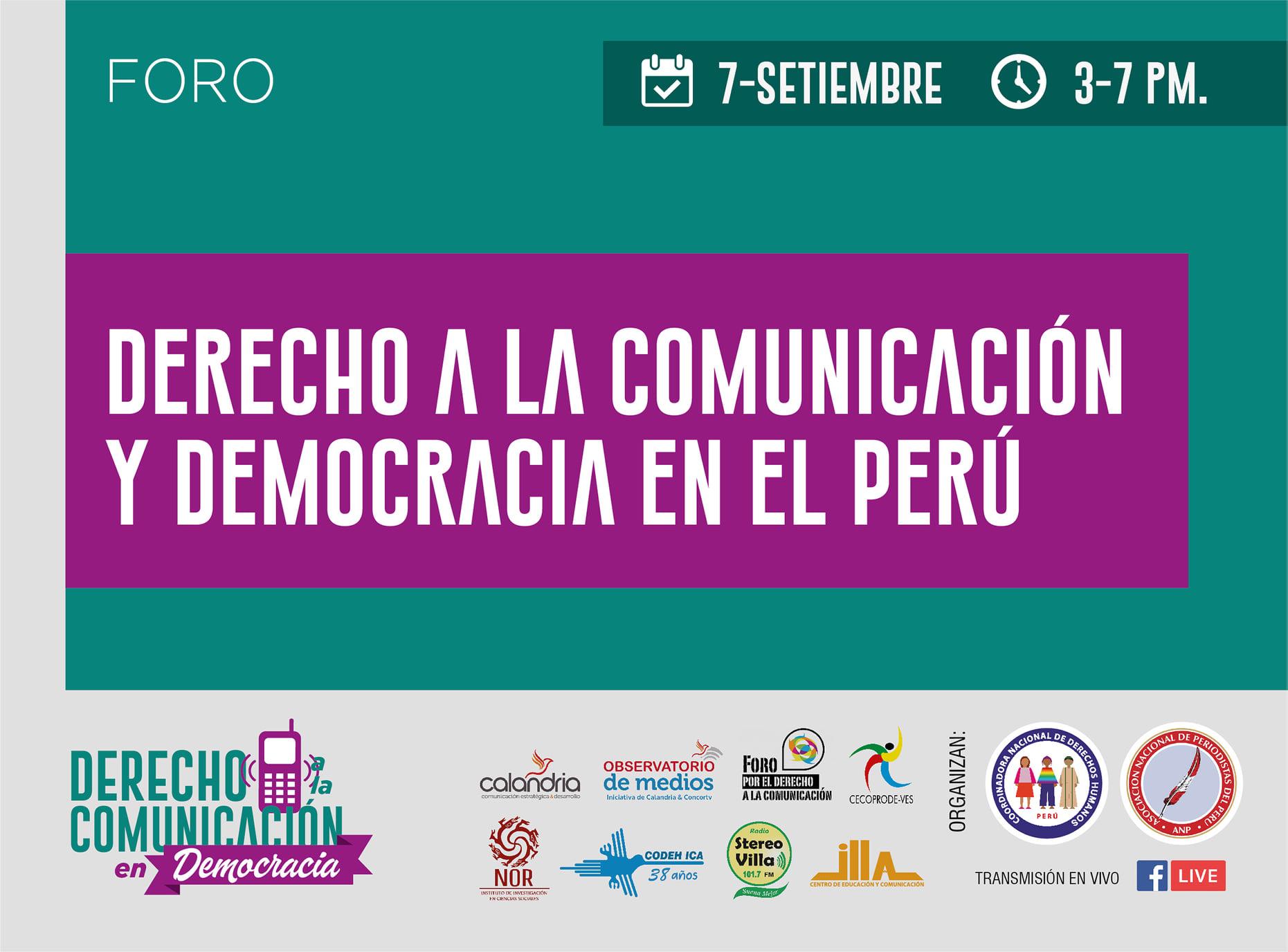"""Perú: Foro """"Derecho a la comunicación y democracia en el Perú"""""""